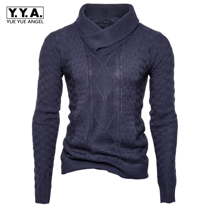 Hot Sale 2018 New Fashion Mens Long Sleeve Pullovers Casual Sweaters Male Coarse Wool Heap Collar Solid Sweater Black Deep Gray
