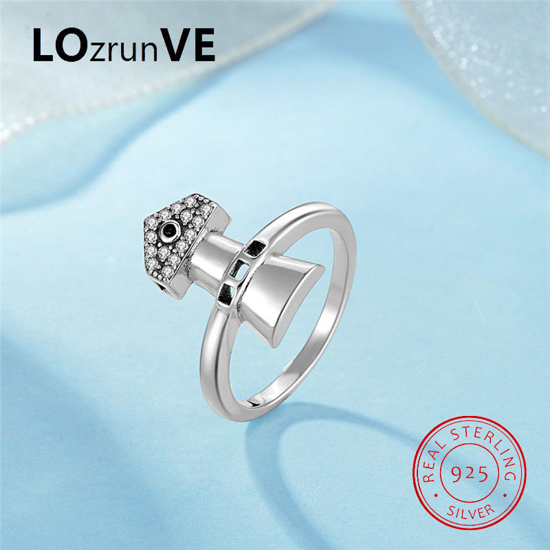 LOZRUNVE Original 2018 Brand S925 Sterling Silver jewelry Ladies Fashion Lighthouse Zirconia CZ Finger Ring Women Wholesale