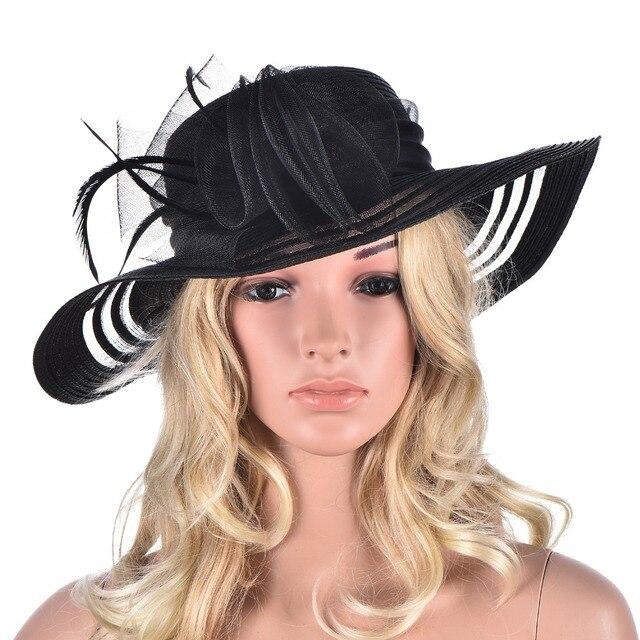 Women Summer Hat Wide Brim Floppy Hats Floral Feather Kentucky Derby Church  Dress Sun Hat for Women Beach Sun Hat A340 e187c2a9f15f