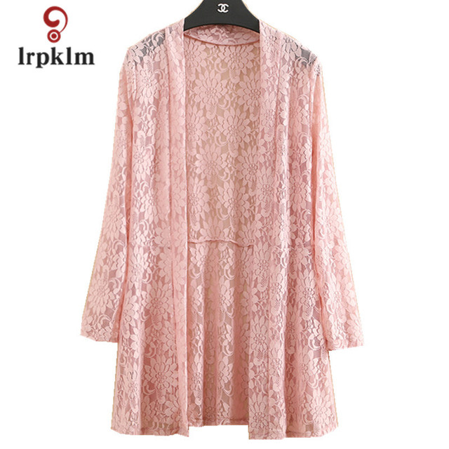 2018 spring  For Women Lace Cardigans for Women Casual Loose For Women Cappa Medium Coat shawl  Open Stitch Plus Sizes PQ259
