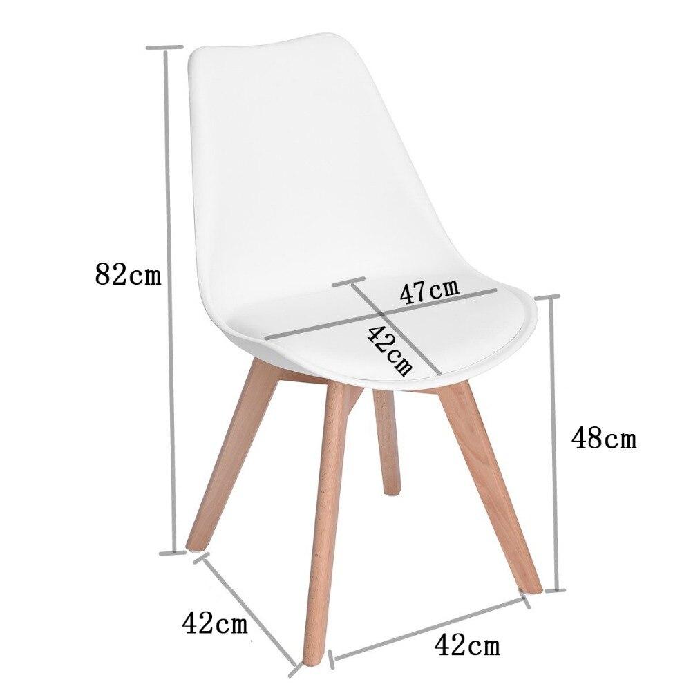 EGGREE lot de 4 chaise de salle à manger/bureau avec pieds en bois massif hêtre loisirs Bar chaise basse Design moderne pour salle de réception blanc - 6