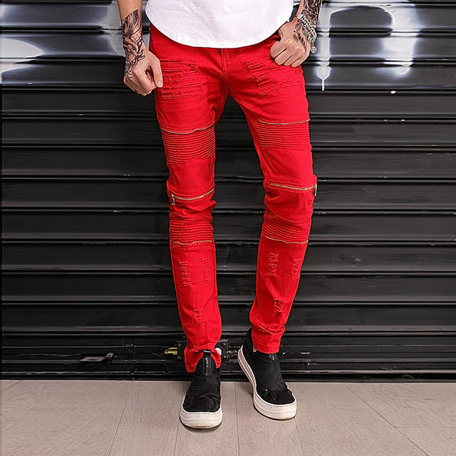 41fe184826f9 placeholder Fashion New Slim Skinny Men red white black Jeans Hip hop  Destroyed Ripped Knee zipper Cotton