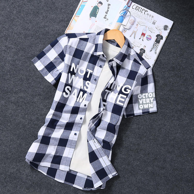 LOOZYKIT 2019 Fashion Summer Spring Men's Casual Lapel Plaid Shirt Slim Short-Sleeve Slim Fit Cotton Stand Men Blouse Shirt 1