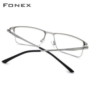 Image 3 - FONEX Alloy กรอบแว่นตาผู้ชายสแควร์สายตาสั้นแว่นตา 2019 ชายโลหะกรอบเกาหลีแว่นตาไร้สาย
