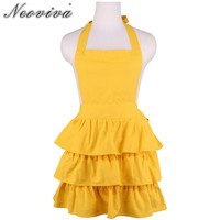 Neoviva Canvas Hostess Apron for the Kitchen Garden Plus Size Susan Solid Blazing Party Bar Cleaning Bib Yellow Aprons Tablier