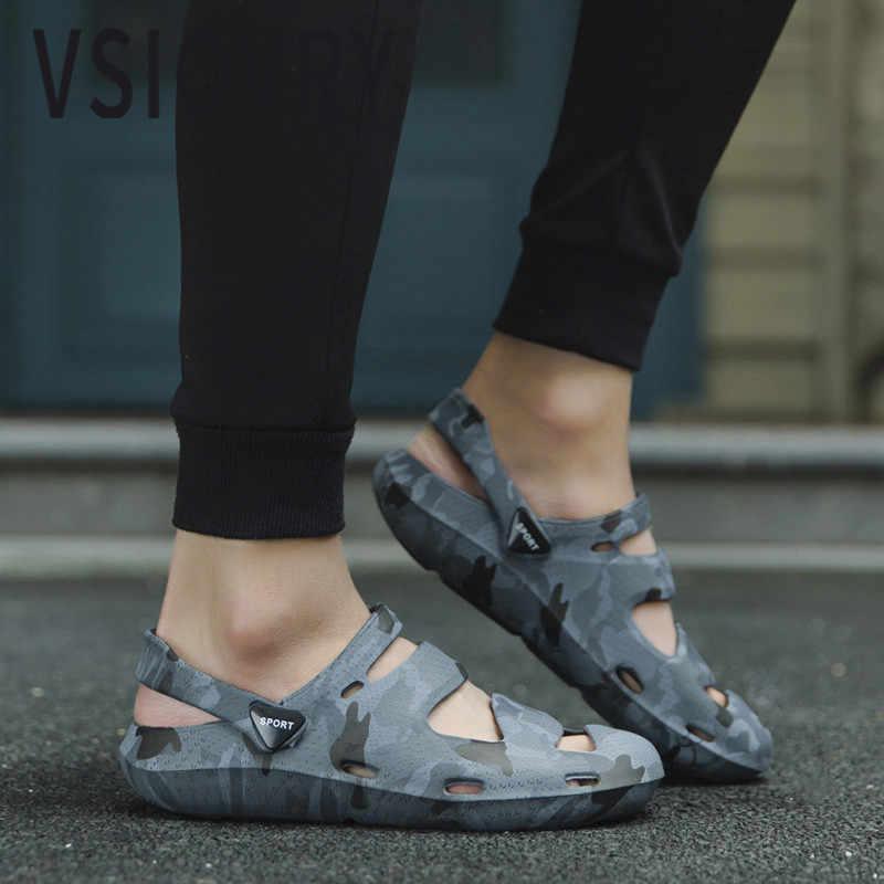 VSIOVRY/2018 г. мужские сандалии летние камуфляжные повседневные пляжные туфли легкие унисекс уличные модные сандалии для мужчин садовая обувь