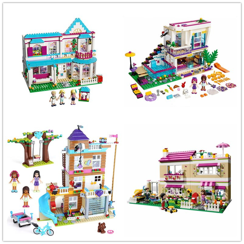 4 Types Friends Series Heartlake City House Building Blocks Bricks Toy for Girls with figure Compatible with Legoingly for Gift toy 10166 friends series heartlake city school model building kit blocks bricks girl toy gift compatible with toys