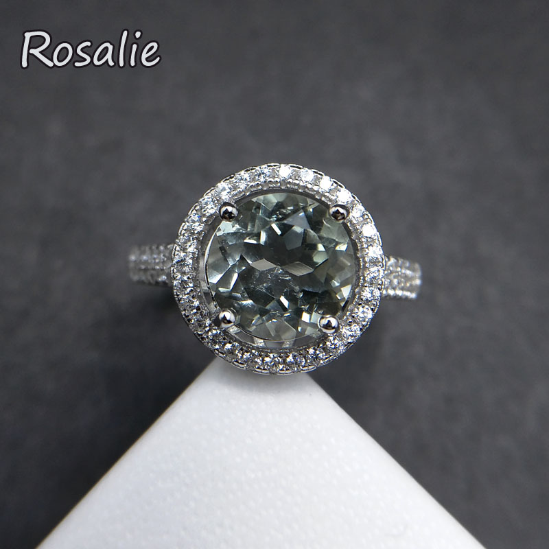 Rosalie,Natural Green amethyst Round cut 8mm 2ct gemstone Ring classic design 925 sterling silver fine jewelry for women gift rosalie natural 0 5ct yellow sapphire gemstone ring elegant design 925 sterling silver fine jewelry for girls fine jewelry