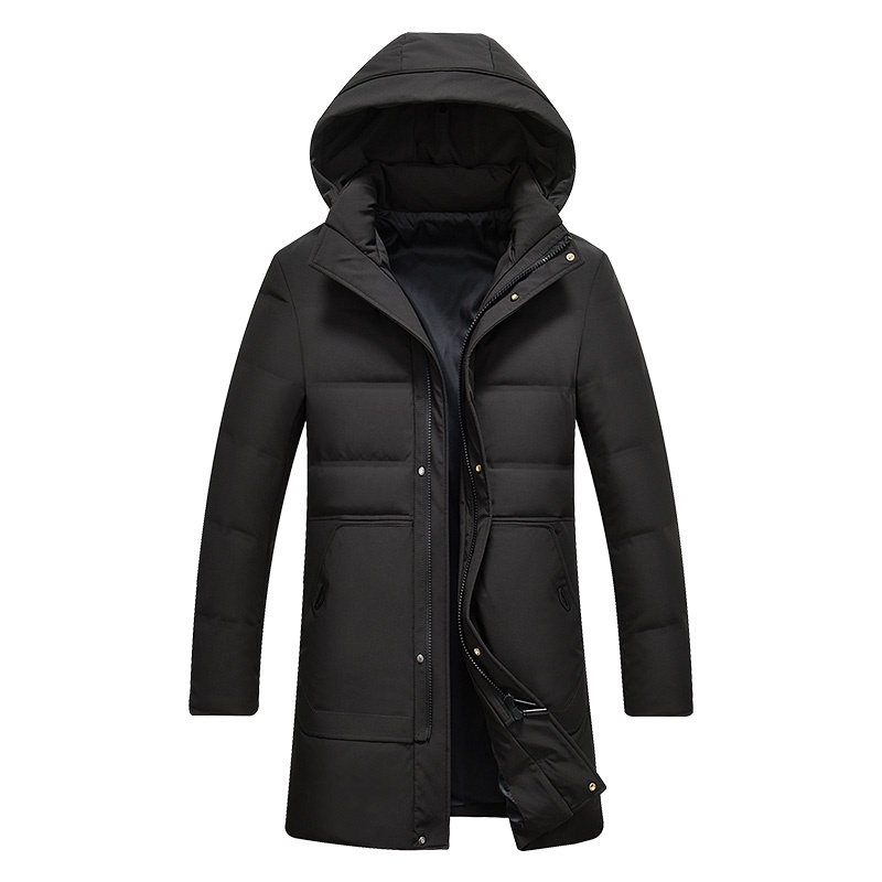Men's Long   Down   Jacket Slim Hooded Parkas Warm   Down     Coat   for Men Male