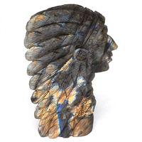 Индийская Статуэтка Череп натуральный драгоценный камень лабрадорит резная статуя кристалл заживление дома Decor4.5
