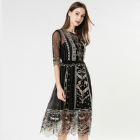 Elegant Embroidery Dress 2019 Summer New European Fashion See Through High Quality Vintage Black Mesh Dresses With Lining
