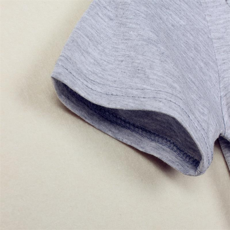 스타 인쇄 솔리드 그레이 소년 티셔츠 여름 짧은 - 아동복 - 사진 4