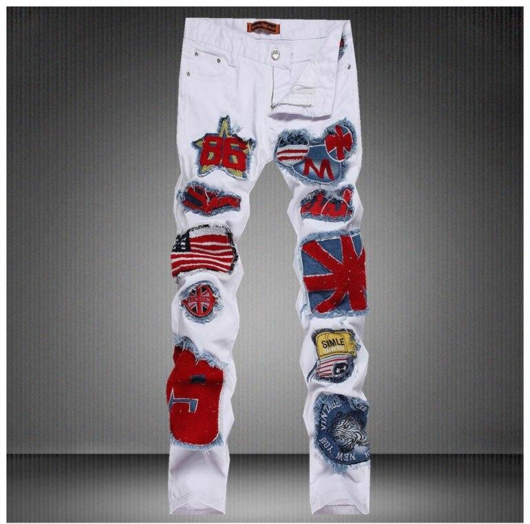 2017 European American Style fashion brand luxury Men's denim trousers zipper Slim jeans White mens Stage DJ singer jeans pants