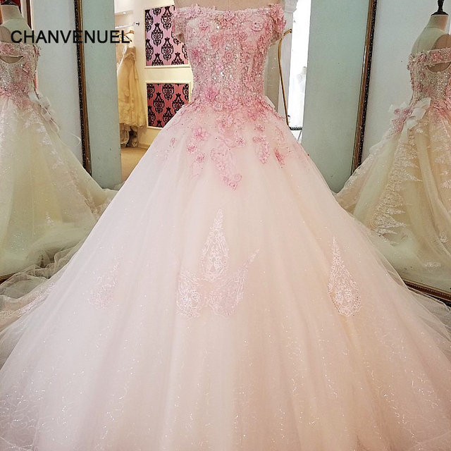 LS69423 pink lace wedding dresses ball gown lace up back off the ...
