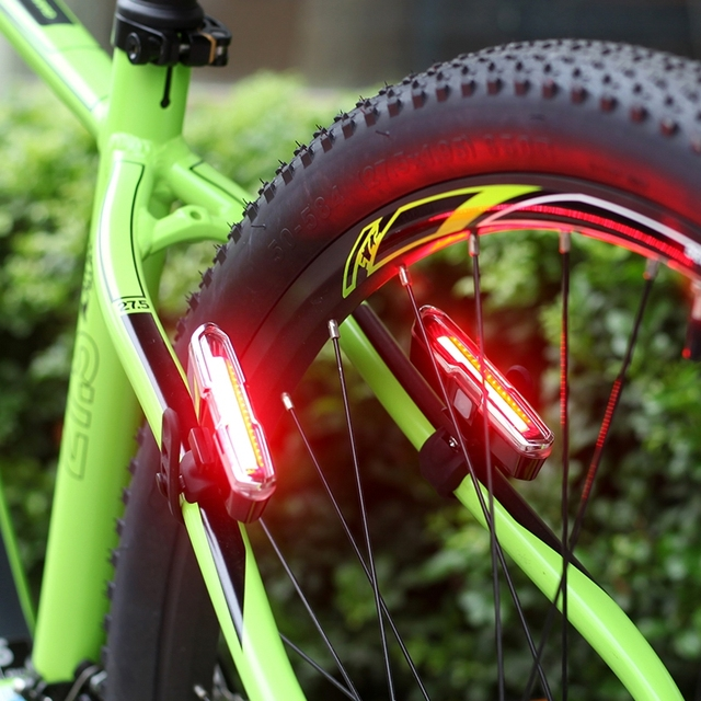 USB Rechargeable Front Rear Bicycle Light Lithium Battery LED Bike Taillight Cycling Helmet Light Lamp Mount Bicycle Accessories