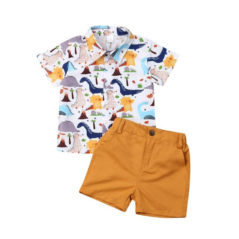 Toddler Baby Boys Clothing Set Summer Dinosaur Print Short Sleweve T-shirt Pants Shorts Children Outfits Kids Clothes Boys Set