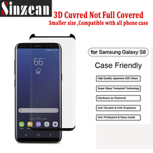 Sinzean 3D Curved Case friendly (Not Full Cover) For Samsung Galaxy S8 /S8 Plus 3D curved tempered Glass Screen Protector