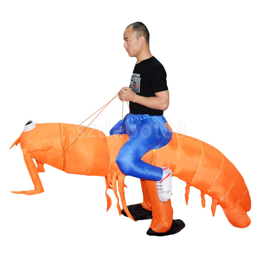 Image 2 - New Hot sale Inflatable Lobster Costume Big funny Mantis Shrimp Rider Halloween Christmas Fancy Dress Gift Favors-in Holidays Costumes from Novelty & Special Use