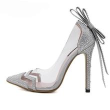 Frauen strass kristall PVC Klar kleid hochzeit brautschuhe fliege schmetterling knoten sandalen pumpen silber frau high heels