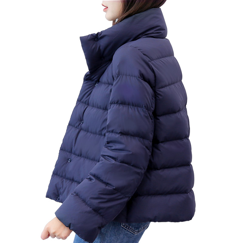 New 2019 autumn winter loose fit   down   jacket women stand collar short casual   down     coat   outerwear plus size