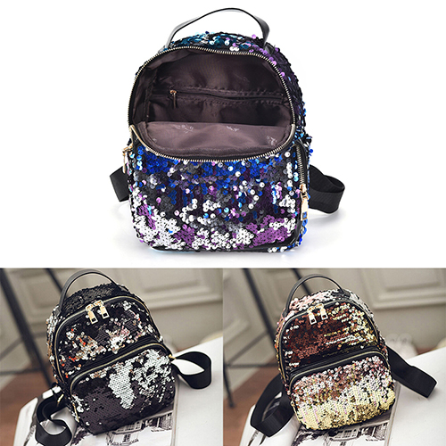 Jetting 2017 New Arrival Women All-match Bag Pu Leather Sequins Backpack Girls Small Travel Princess Bling Backpacks 3 Colors #2