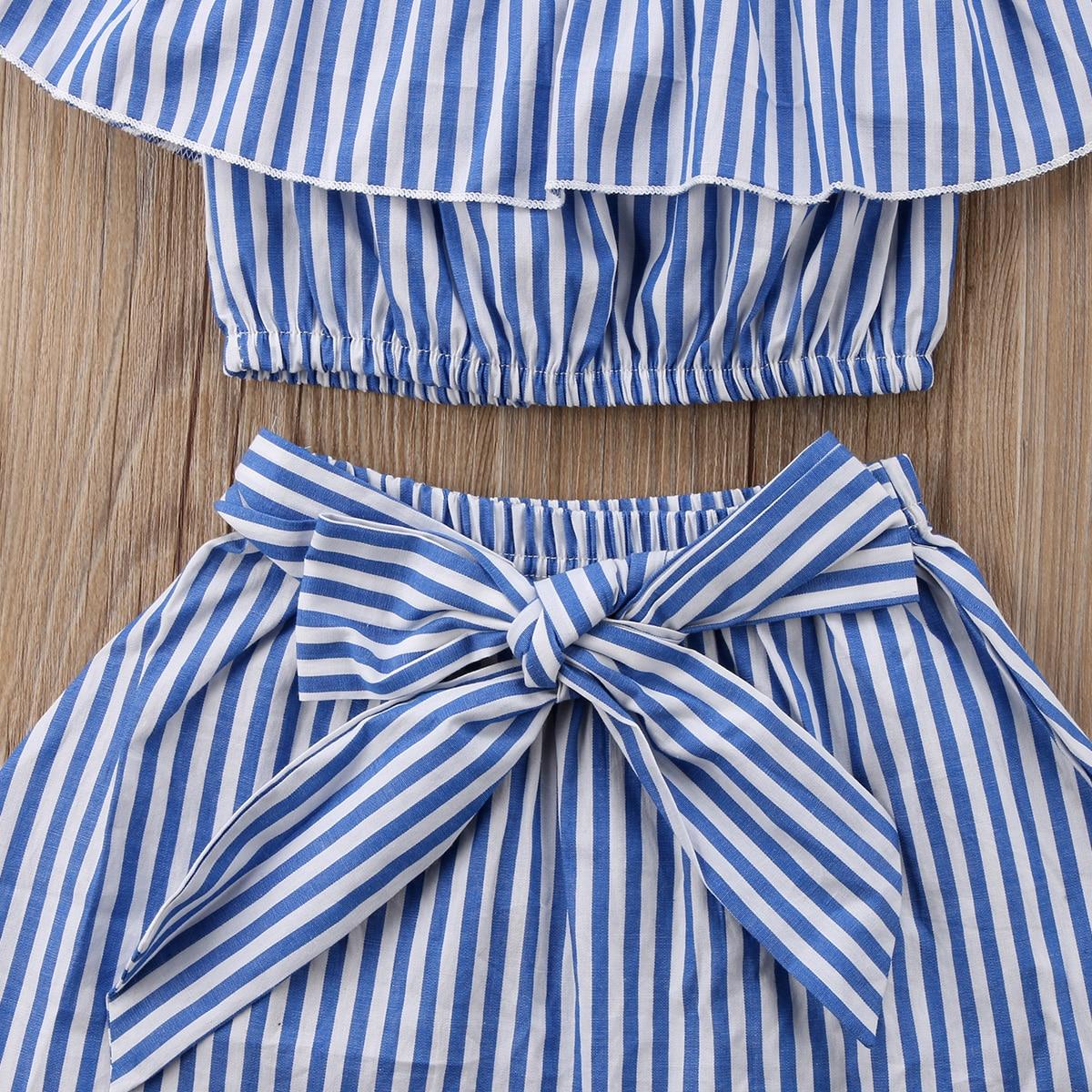 Toddler Kids Baby Girl Summer Off Shoulder Ruffle Collar T-Shirt Top Outfits Set