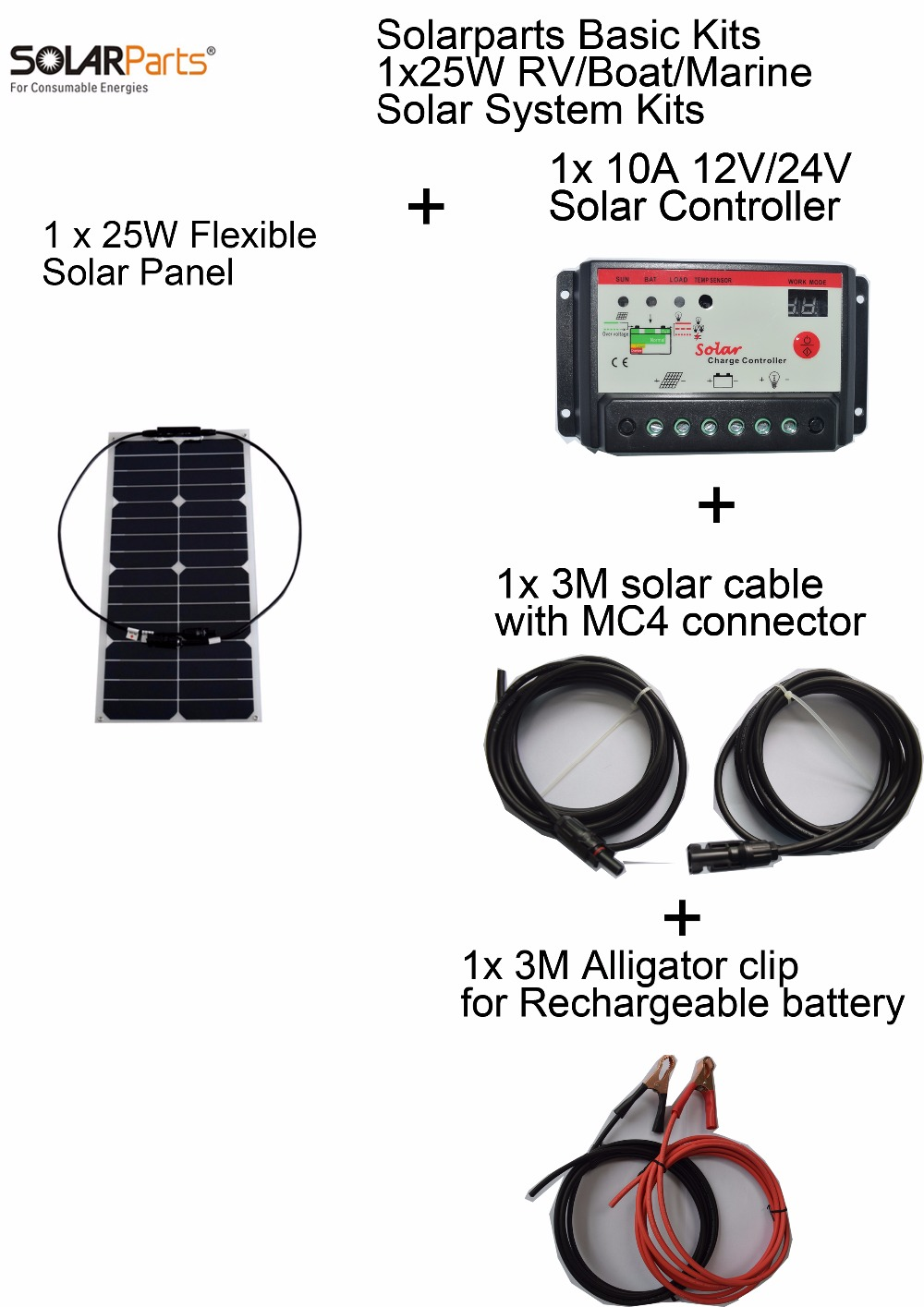 Solarparts Basic Kits 12V 1x25W DIY RV/Marine Solar System Kits 25W flexible solar panel+controller+cable outdoo light led light solarparts 100w diy rv marine kits solar system1x100w flexible solar panel 12v 1 x10a 12v 24v solar controller set cables cheap