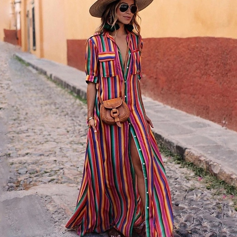 New Dresses Woman Party Night Autumn Explosions Color Stripe Print Bohemian Dress Long Dress Summer Clothes For Women