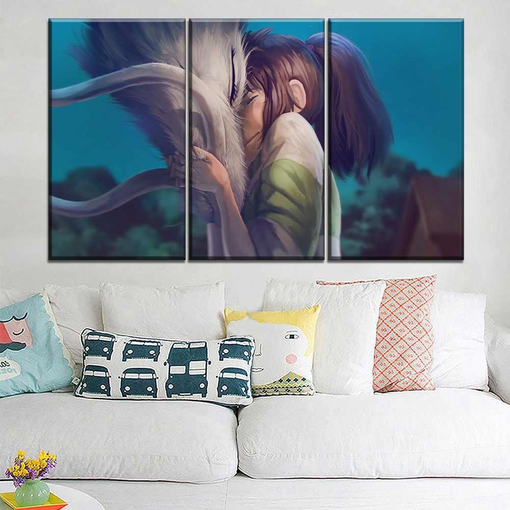 Wall Art Canvas Hd Print Poster Home Decor Children Room Pictures 1 Pieces Chihiro Haku Cartoon Spirited Away Painting Framework Painting Calligraphy Aliexpress