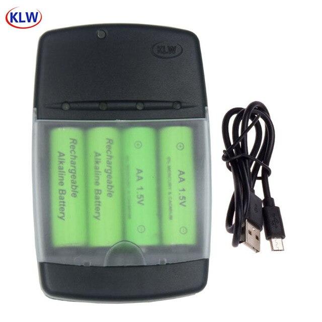USB חכם סוללה מטען עבור LR03 AA LR6 AAA LR61 AAAA אלקליין 1.5V סוללה נטענת עם אינטליגנטי LED מחוון