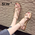 shoes woman clip toe Strappy sandals tip binding zomer schoenen soulier femme Solid Color strappy heels all match new arrival