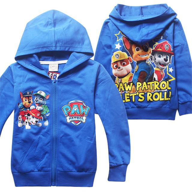 Niños de dibujos animados caliente sudaderas con capucha de manga larga marca niños clothing zipper tire Garcon Patrulla de Peluche Bebé Traje Para Los Bebés 3-8 edad
