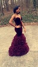 Afrikanische prom dress 2016 sexy nixe-abschlussball rüschen bodenlangen pageant kleider für frauen