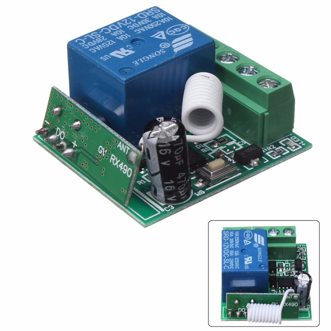 New Wireless Relay Switch 100M Wireless Remote Control Receiver Module  Relay Switch 1CH DC 12V AC22V RF 433MHz