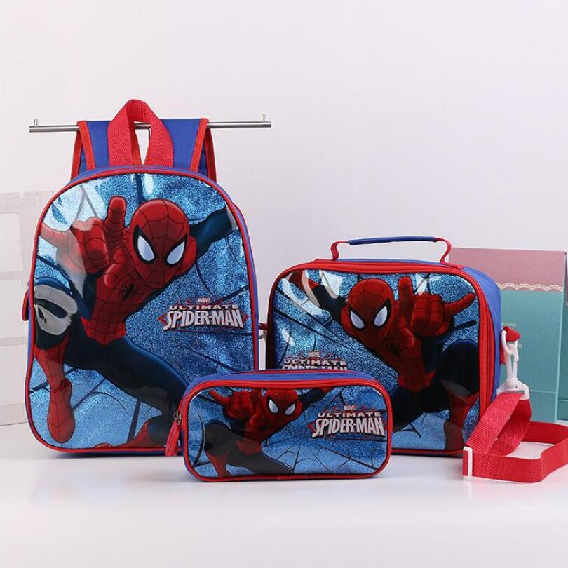 Spider Man Spiderman Boys Backpack School Bag With Lunch Pencil Case Set 3 For Kids Kindergarten Preschool School Toddler Bags
