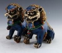 Пара Китайский перегородчатой Медь статуя Лев