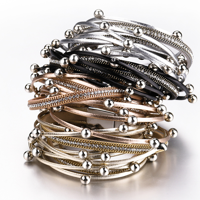 Multilayer Leather Bracelets For Women 2018 Trendy Design 4 Colors Beads Charm Double Wrap Bracelets & Bangles Jewelry