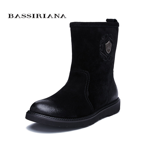 BASSIRIANA new warm genuine leather shoes men snow ankle boots winter round toe slip-on soft nature wool black suede size 39-45 Lahore