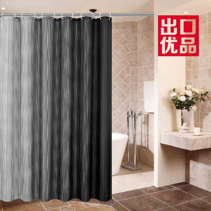72 X 78 Inch Mouldproof Polyester Fabric Shower Curtain Liner Gray White Striped Waterproof Bath With Plastic Hooks In Curtains From Home