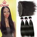 Produtos de Cabelo rainha 13x4 Orelha A Orelha Fechamento de Renda Frontal com 10A Remy Virgem Feixes de Cabelo Liso Brasileira Com Frontal cabelo