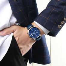 NIBOSI كرونوغراف ساعة رياضية للرجال ساعات رجالي مقاوم للماء كوارتز ساعة زرقاء للرجال Relogio Masculino