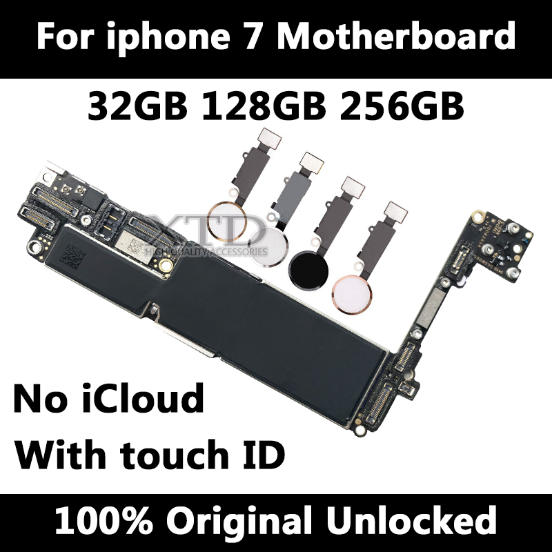 Factory unlocked for iPhone 7 Motherboard With / Without Touch ID Original for iphone 7 Mainboard with Chips 32GB 128GB 256GB|Mobile Phone Antenna| |  - title=