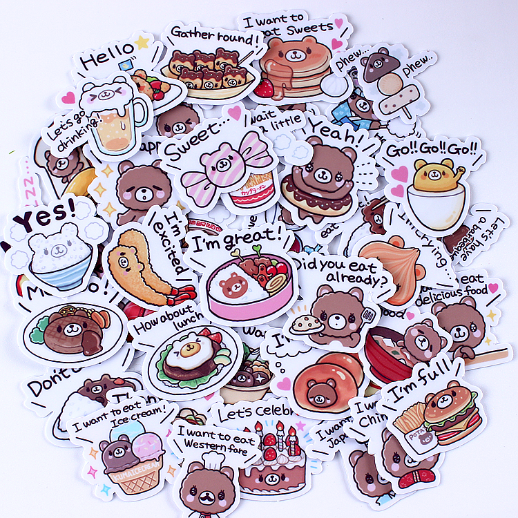 40pcs Creative Kawaii Self-made Bear Delicious Food Stickers Scrapbooking Decorative Stickers/DIY Craft Photo Albums