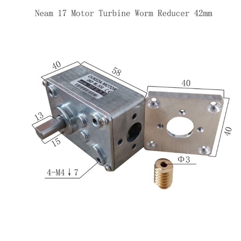 Worm Gear Reducer NEMA 17 Turbin Worm Reducer Fit For NEMA 17 48mm Stepper Motor With Different Gear Ratio