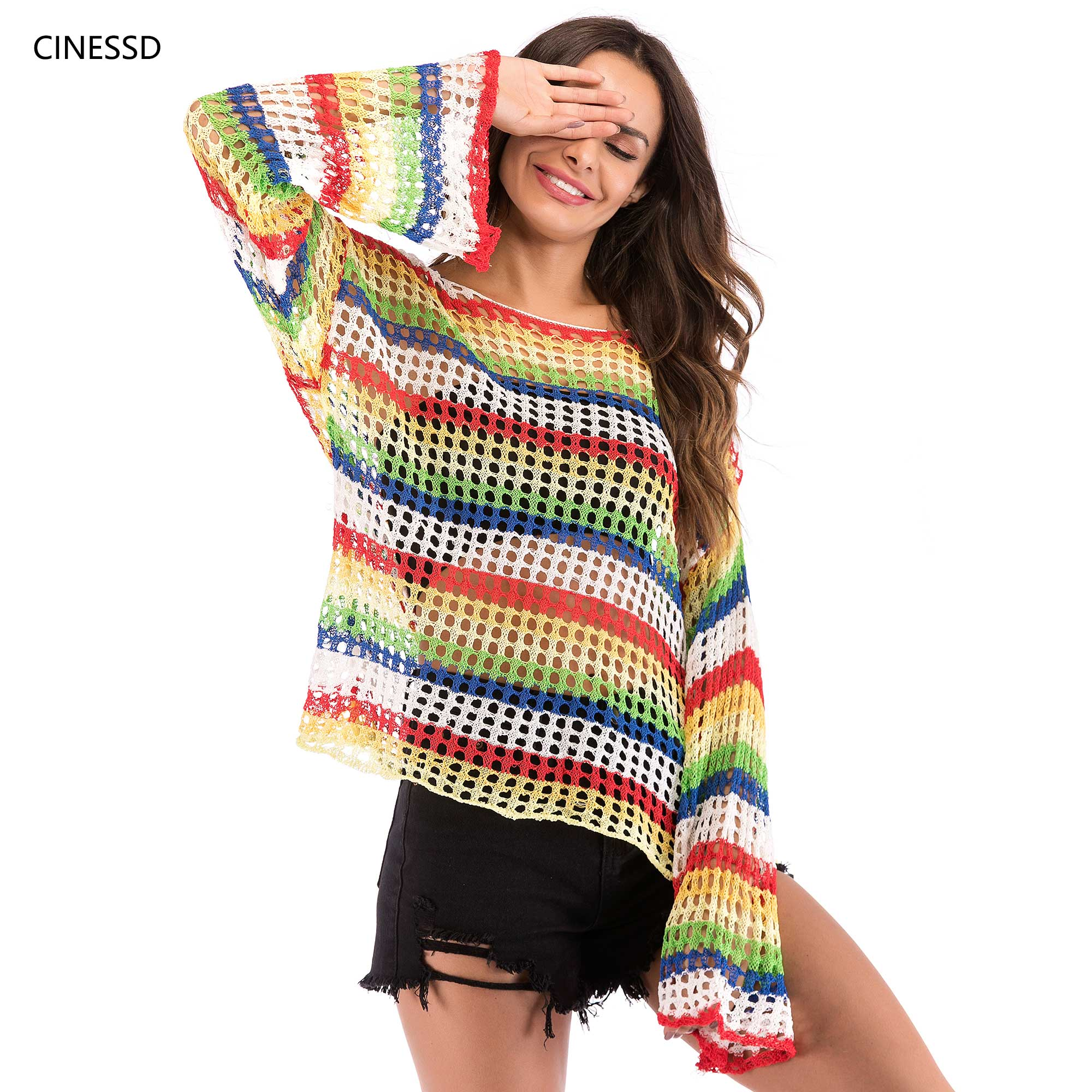 CINESSD Summer Women Cover Up Tops Hollow Knit Tee Shirt Beach Loose Striped Long Sleeve Round Neck Casual