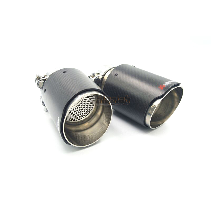 2 size Carbon fiber stainless steel universal Auto akrapovic exhaust tip with mesh net tailtip end
