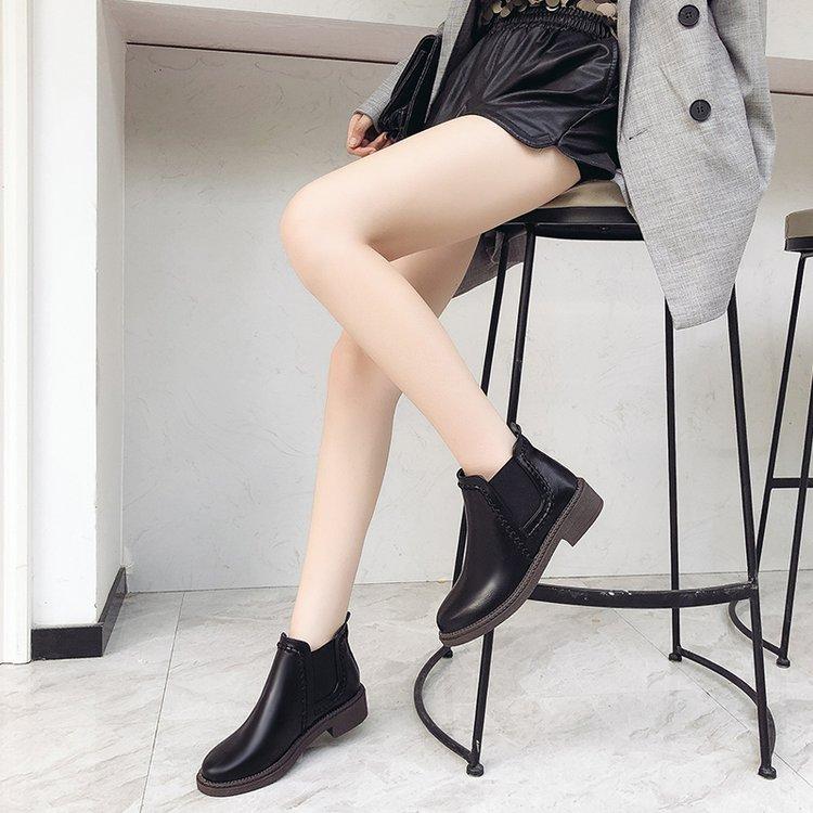 Moda Botas Mujer Zapatos Pu De Martin marrón Redonda Nueva Negro Chelsea Cuero Punta 2018 Plataforma dTxw4p