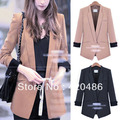 New Fashion Elegant Retro Womens One Button Lapel Slim Suits Blazer Jacket Outerwear Coats Free Shipping