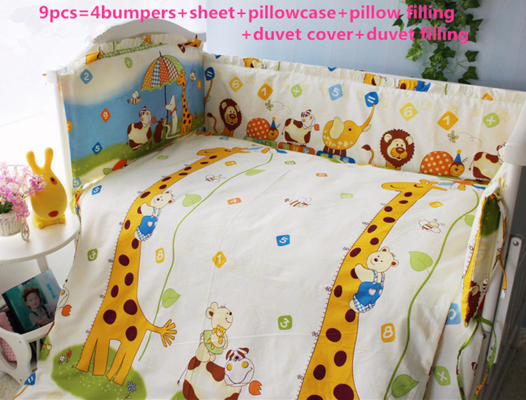 Promotion! 6PCS baby Cot Crib bedding Set Embroidery Baby Bumper Sheet (bumpers+sheet+pillow cover) цена 2017