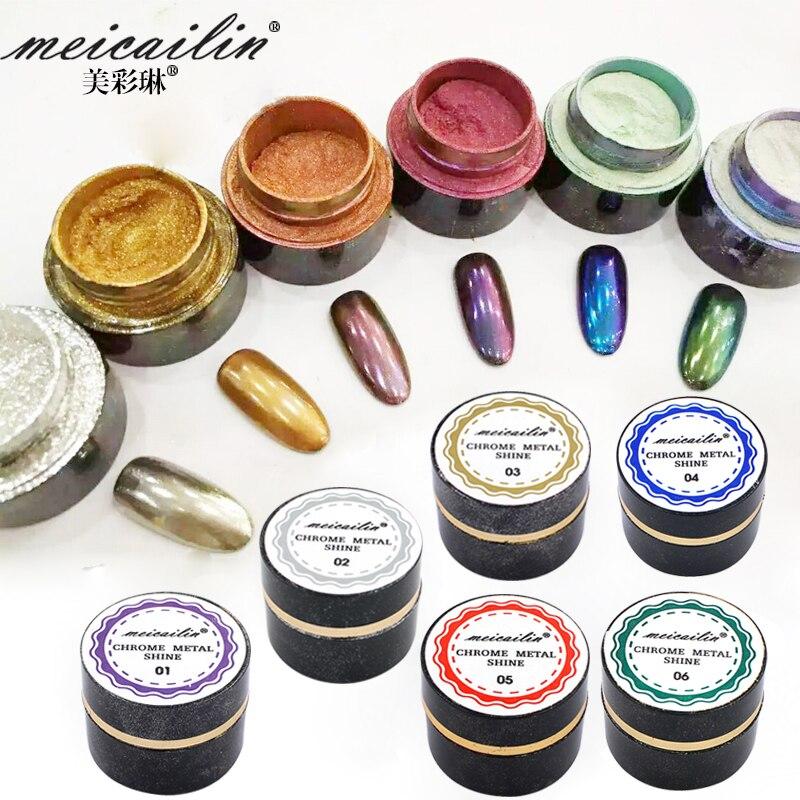 6bottle/lot Mirror Powder Pigment Aluminium Chrome Nail Glitters Sequins DIY Decoration Tools 5g/bottle